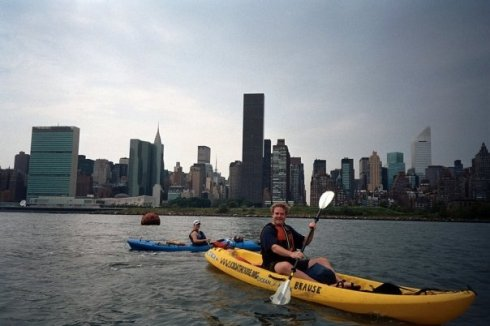 Erik kayaking in NYC
